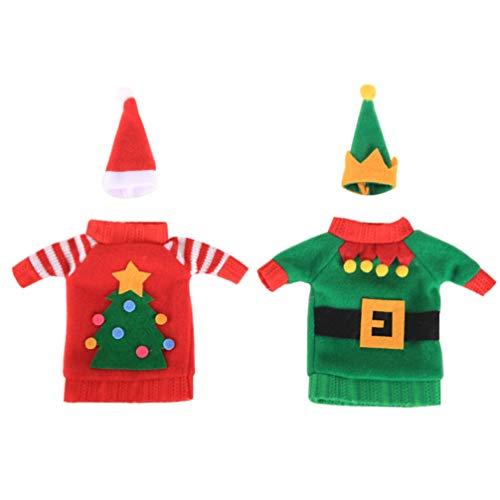 Toyvian 2 Sets Botella de Vino de Navidad Funda de Botella de Navidad Cubierta de Botella Disfraz de Champán para Decoraciones de Fiesta de Festival