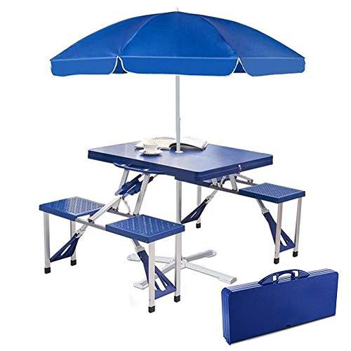 Aluminio Mesa de jardín, Silla de Playa Mesa Plegable con sombrilla y sillas for 4, Tabla Duradero/portátil for la Fiesta de jardín Patio Barbacoa Camping-Blue WHJD