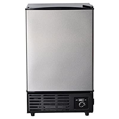 Smad Portable Commercial Ice Maker Under Counter Built-in Ice Maker Machine with Freezer, Stainless Steel