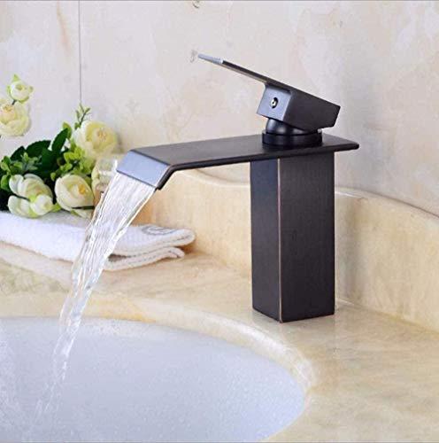 Grifos de cocina Grifos de baño Grifo de lavabo de baño Grifo de cobre Retro Baño Grifo de cascada Fregadero de metal Mezcla negra para agua fría y caliente