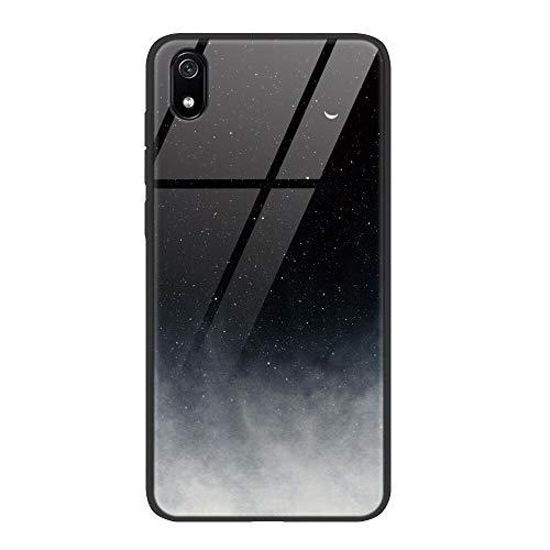 ZhuoFan Funda Xiaomi Redmi 7A, Cárcasa Silicona 3D Cristal Templado Diseño Antigolpes de Protector Souple Gel TPU Bumper Case Cover Piel Fundas para Movil Xiaomi Redmi7A, Gris Negro