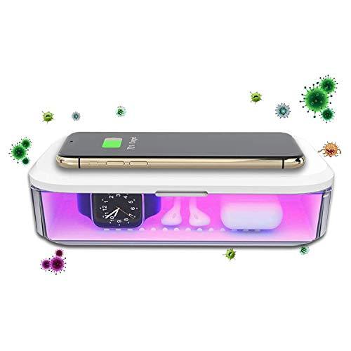 Kdely Esterilizador UV Portátil Multifuncional Todo en Uno con función de Carga Inalámbrica, Adecuado para iPhone Se 2020/11 Pro MAX/XS MAX/Samsung Galaxy S20 / S20 Ultra / S10 /Huawei P40 Pro