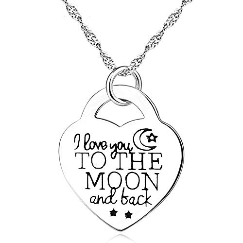 Sterling Silver Heart Necklace Love Pendant Engraved I Love You to The Moon and Back for Mum Women Ladies Girls Daughter