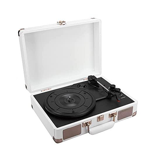 WGHBHD WGHH Giradischi in Vinile, 3 velocità 33/45/78 RPM. Lettore Record della Valigia Vintage Portatile Portatile Bluetooth con Altoparlante Stereo Incorporato