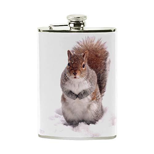 TIZORAX Flachmann, Eichhörnchen auf dem Schnee, Edelstahl, Taschenflagon, Camping, Weintopf, Geschenk für Männer oder Frauen, 227 ml