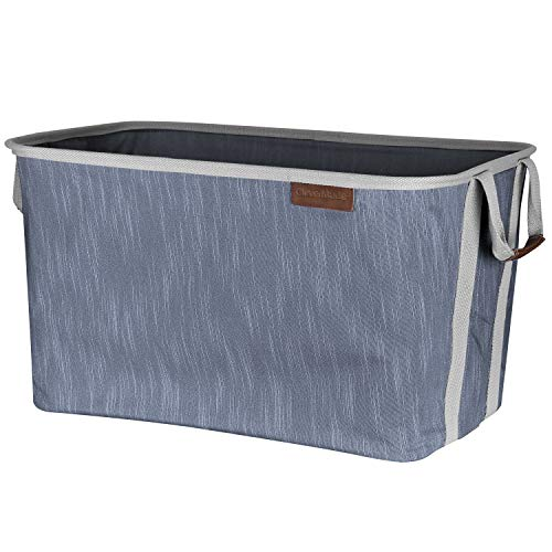 CleverMade Collapsible Fabric Laundry Basket - Durable Pop Up Storage Organizer with Handles - Space-SAVING XL Clothes Hamper with Sturdy Frame, Navy/Grey