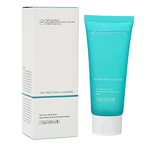 Limpiador Facial Limpiador, Crema Limpiadora Suave Refrescante Rica en Extracto de Árbol de Té Limpiador Facial Exfoliante Sensible Tratamiento Acné Limpiador Facial Control de Aceite Piel 110g