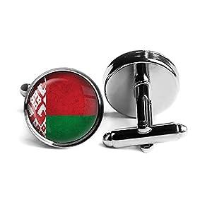 Belarus Belarusian Flag Old Flagge Rhodium Silber Manschettenknöpfe