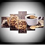 WJBKY Biscuits Aux Pépites De Chocolat Expresso 5 Pièce HD Fonds D'Écran Art Impression sur Toile Affiche Moderne Art Modulaire Peinture pour Décor De Salon @ S