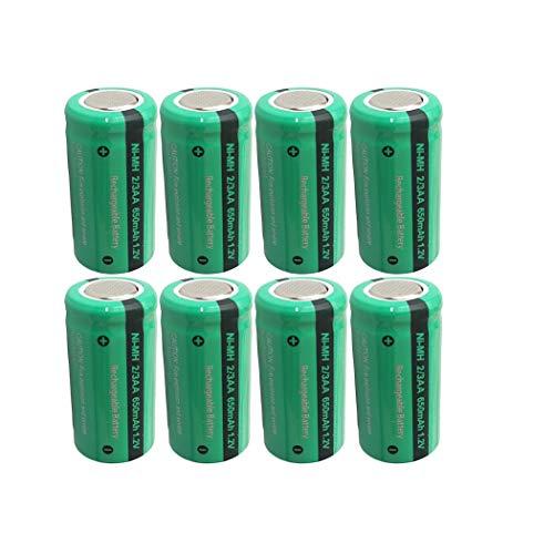 Rechargeable 2/3aa Flat Top Nimh Battery 1.2v 650mah x 8pcs