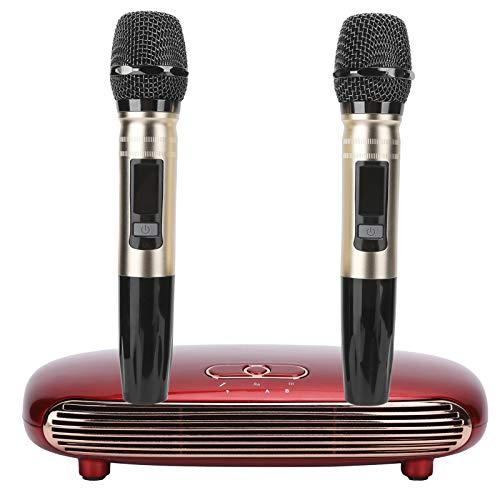 Dpofirs Système de Machine à karaoké Portable sans Fil K8, avec 2 Microphones de Carte Son USB Bluetooth, Bluetooth 5.0, entrée Fibre, Carte Son USB, entrée Audio 3,5, HDMI(Rouge)
