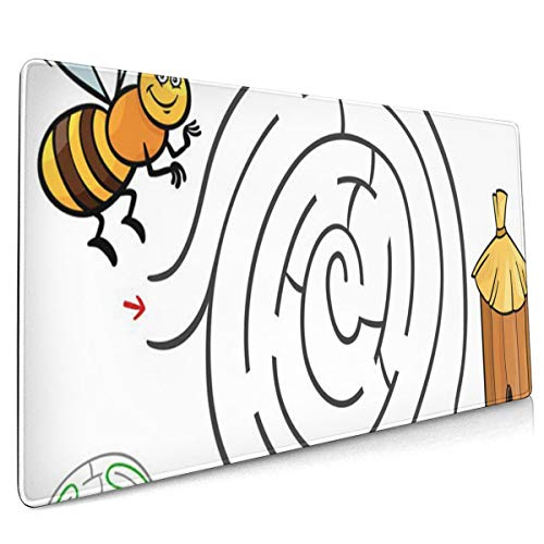 Multi-Function Gaming Mouse Pad, Non-Slip Rubber Base, Computer Keyboard Mouse Pads for Office and Games - Cartoon of Education Maze Labyrinth Activity Game Children