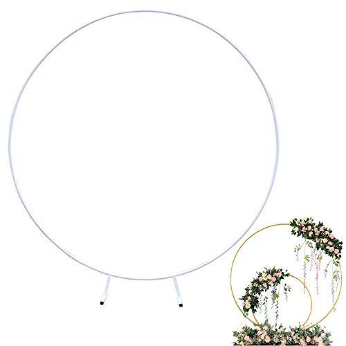 JHGG Eisenbogen Und Ehering Hintergrund Bogen Zubehör Outdoor Rasen Blumenbogen Hochzeit 2 m weiß