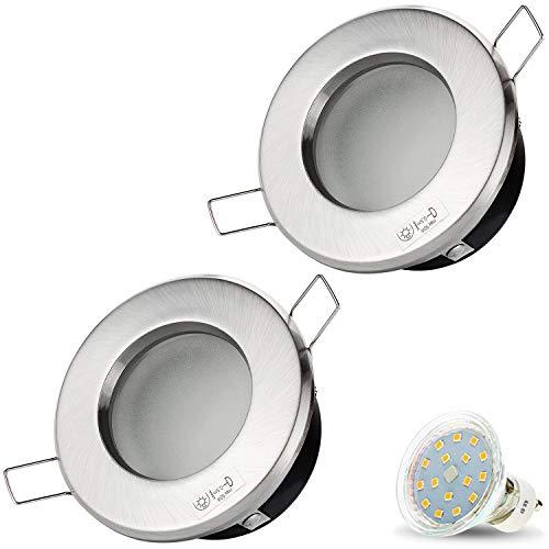 2er Set VENEDIG RUND (Matt-Chrom) IP44 230V LED SMD 4W (300lm) Warmweiß Decken Einbaustrahler Einbauspots Deckenspots f. Badezimmer Feuchtraum Außenbereich inkl. GU10 Fassung mit 15cm Anschlusskabel