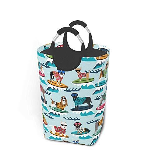 Cesta de almacenamiento para la colada, para surf, perros, lindos perros de verano, surf, grande, plegable, para ropa sucia, juguetes, libros