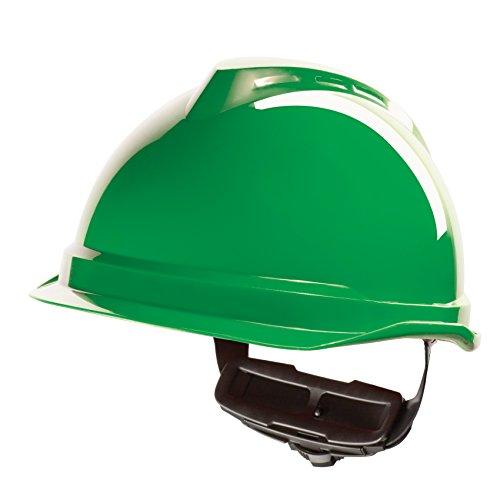 Casco de Protección MSA V-Gard 520 con Ajuste por Trinquete FasTrack - Casco de Trabajo Casco de Seguridad Casco de Construcción, Color: Verde