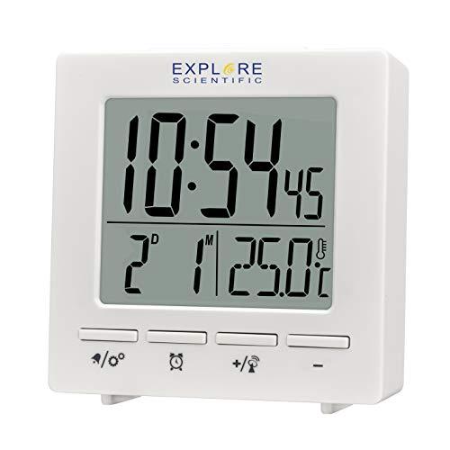 EXPLORE SCIENTIFIC Orologio radiocontrollato da viaggio RDC1005, radiocomandato, Doppio allarme, Snooze, Calendario, bianco