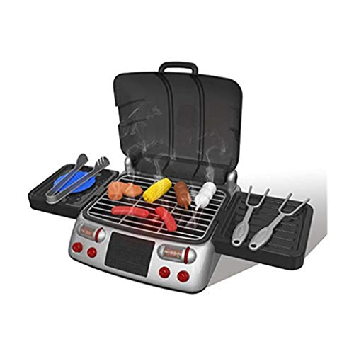 ErYao Shipped from USA,Play Kitchen for Kids, Pretend Play Food Set for Toddler, Electric Stove Play Food Kitchen Grill Set Kids House Play Toys with LED Lights (Black)