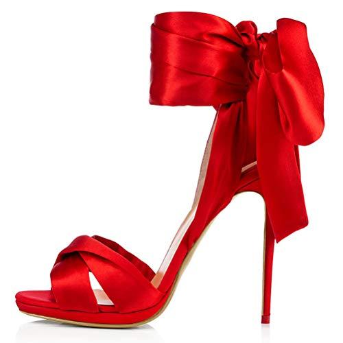 Insole 12Cm Sandalen High Heel, Große Größe Sexy Satin-Tuch Bandage Stiletto Damen Sandalen Für Hochzeit Engagiert Bankett,Rot,39