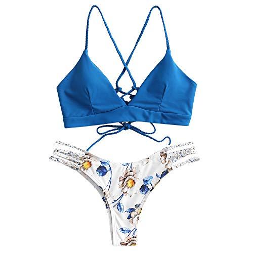 ZAFUL Damen Zweiteilig Bikini-Set mit verstellbarem BH Push-Up Rücken, Triangle Bustle Badehose mit Blummenmuster (meerblau, S)