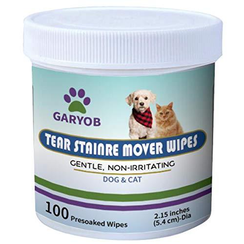 GARYOB Pet Eye Wipes, Eye Tear Stain Remover Wipes for Cats & Dogs, Best Natural Eye Crust Treatment for Pet, 100 Pre Soaked Cotton Pads