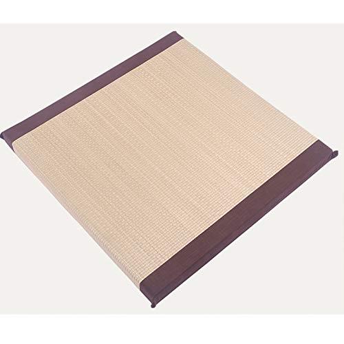 CHENSHJI Cojín de la meditación del futón Cuadrado Cojín de Yoga a Mano de la Paja Hecha a Mano Rodillera de arrodillamiento Tatami Puf Cojín de Suelo (Color : Beige, Size : 55x55cm)