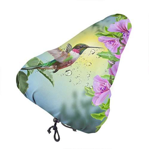 Sattelbezug Fahrradsitzbezug Kleiner Vogel Kolibri auf rosa Fahrrad Kindersitz Regenbezug Niedliche Sitzbezüge Mit Kordelzug, Regen- und Staubbeständig Fahrradsättel