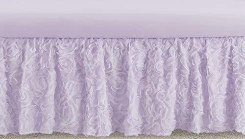 Sweet Jojo Designs Purple Floral Rose Girl Baby Nursery Crib Bed Skirt Dust Ruffle - Solid Light Lavender Flower Luxurious Elegant Princess Vintage Boho Shabby Chic Luxury Glam High End Roses