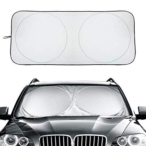 GOLDGE Protector solar para coche, 1 parabrisas delantero + 2 lunas traseras, protección solar, protección UV, plegable, para parabrisas, varias ventanas de coche, 160 x 90 cm