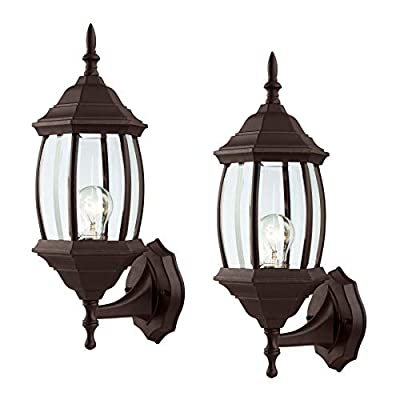 Outdoor Exterior Wall Light Fixture Lantern Porch Patio Downlight/Uplight, 1 or 2 Pack