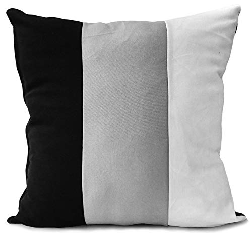 Large Set Of 4 Scatter Cushions + Covers 3 Tone Black/Grey/White