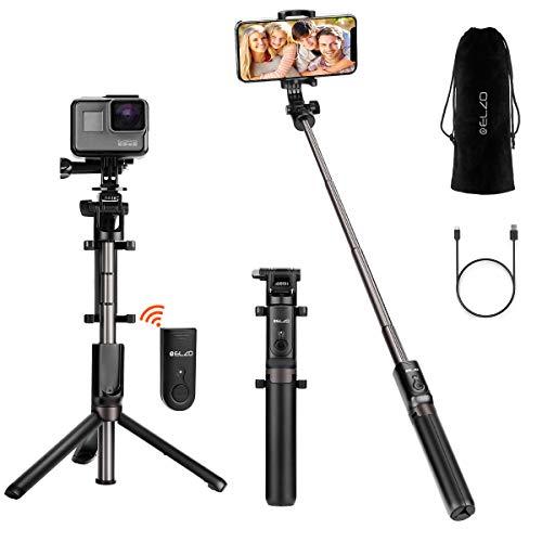 ELZO Bluetooth selfie stick statief, 4 in 1 uitbreidbaar monopod draadloze selfie-stang staaf 360 ° rotatie met bluetooth-afstandsbediening voor GoPro iPhone Android Samsung 3,5-6 inch smartphones