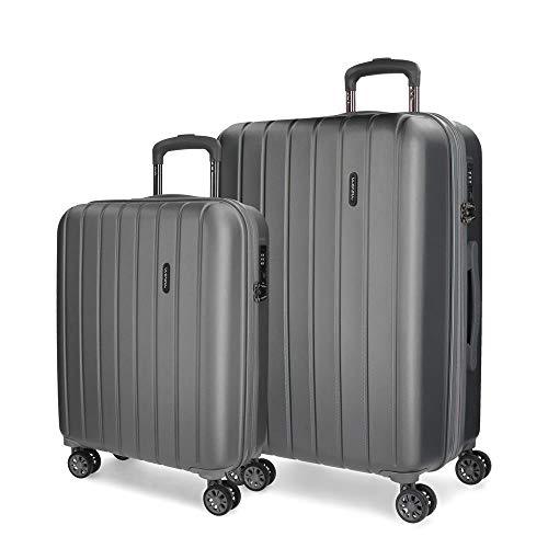 Movom Wood Juego de maletas Gris 55/70 cms Rígida ABS Cierre TSA 119L 4 Ruedas dobles Equipaje de Mano