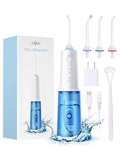 Water Flosser Professional Cordless Dental Oral Irrigator 4 Modes Anjou Portable Rechargeable IPX7 Waterproof Teeth Cleaner with 320ML Cleanable Water Tank for Home Travel Braces and Bridges Care