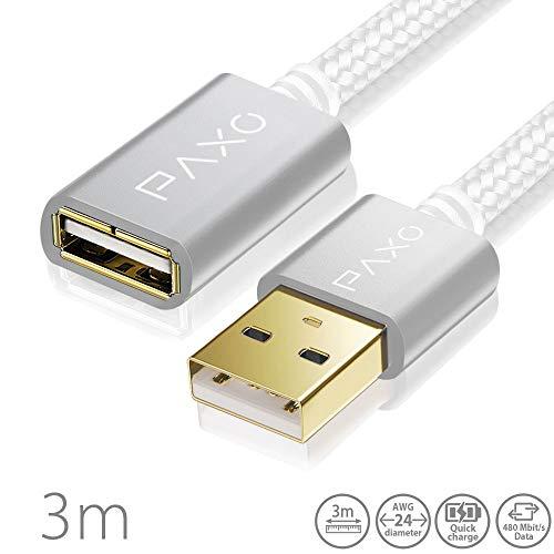 3m Nylon USB Verlängerung weiß, A-A USB Verlängerungskabel mit eleganten Alluminiumsteckern, Nylon Stoffmantel & Kabelklett