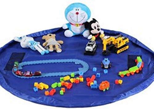 Chicya Bolsa de almacenamiento de juguetes con cordón, bolsa grande de almacenamiento, organizador de juguetes, tapete de juego, color azul