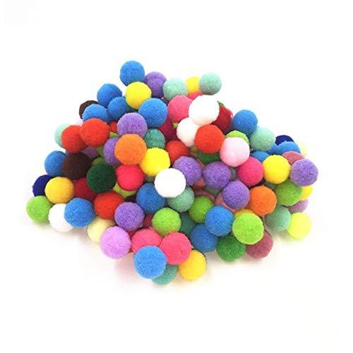 JIAHUI 50 pompones esponjosos de color mezclado con bolas de pompón, bolas de pompón, juguetes para niños, accesorios de costura (color: 15 mm)
