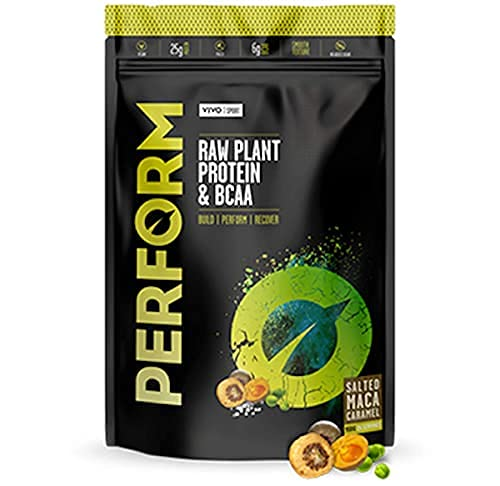 Vivo Life Perform Salted Maca Caramel Flavour Vegan Protein Powder, 14 Servings - 532g, BCAA Pea & Hemp Blend, Plant-Based Protein Shake