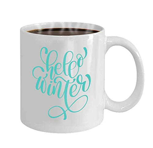 Gifts Present 11oz Coffee Tea White Mug(Two Sides) Hello Winter Lettering Vector
