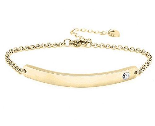 Silvity Damen Gravur-Armband Edenlstahl veredelt mit einem Swarovski¨ Kristall 16,5 cm bis 20,5 cm Wunschgravur (Gold)