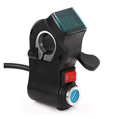 YJSS JXXXJS El Acelerador del Acelerador del Manillar de la Bicicleta eléctrica empuñadura E-Bike Scooter Thumb Thumb Thumb con Bloqueo de Llave Encendido/Apagado Interruptor LCD Pantalla