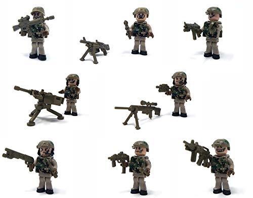 Modbrix 8 x Minifiguren US Army Navy Seals Soldaten Figuren inkl. MG Nest und Sandsack Stellung