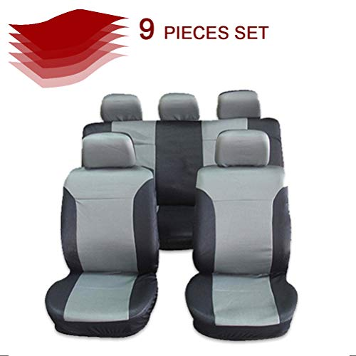 cciyu Seat Cover Universal Car Seat Cushion w/Headrest - 100% Breathable Washable Automotive Seat Covers Replacement Replacement fit for Most Cars(Black on Gray)