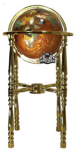 Unique Art 36-Inch Tall Amberlite Pearl Swirl Ocean Floor standing Gemstone World Globe with 4 Leg Gold Stand