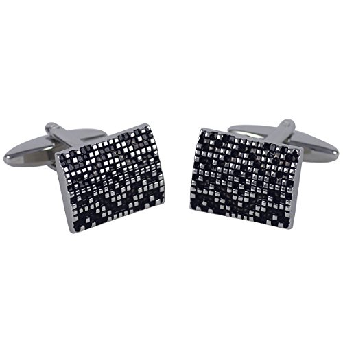 Lindenmann Cufflinks/Cuff Buttons, Silvery with Lacquer Ornament in Black, Gift Box, 10473