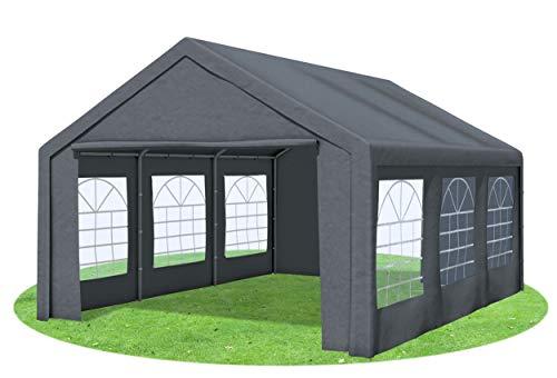 Stabilezelte Partyzelt 4x6 Classic Premium PVC 400 g/m² wasserdicht inkl. Seiten Festzelt Gartenzelt Grau