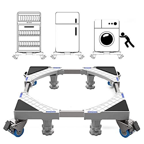 Base Lavatrice con Ruote Mobile Supporto Lavasciuga Regolabile Lunghezza 50 cm ~ 66 cm, Capacità di Peso 300 kg resistente per lavatrice, asciugatrice e frigorifero (Large)