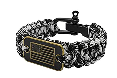 aarrows & Co USA Flag Paracord Survival Bracelet High Tensile Cobra Weave with Adjustable Bow Shackle (White Camo)