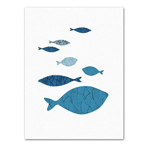 YWOHP Arte de Pared de pez Abstracto Cartel nórdico Animal Sala de Estar decoración del hogar Pintura de Pared Animal Lienzo pintura-50_x_70_cm_No_Frame_2