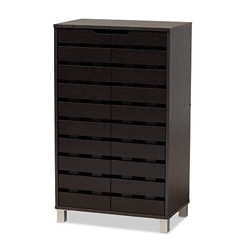 Baxton Studio 178-11027-AMZ Shoe Cabinets, Dark Brown/Grey
